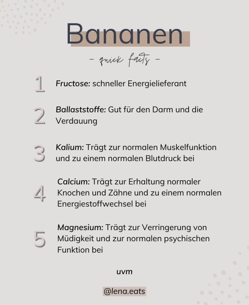 Liste Nährstoffe Bananen