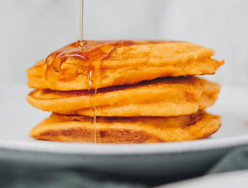 Kürbis Pancakes Stapel